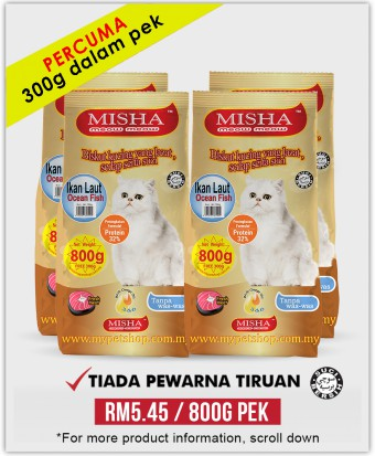 Sollu Shelter : PERCUMA 300G : Misha Dry Cat Food Ocean Fish 800G x 4 Packs