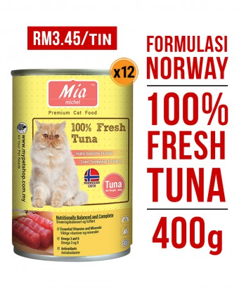 Mia Michel Super Premium Tuna Wet Can Cat Food 400G x 12 Tins