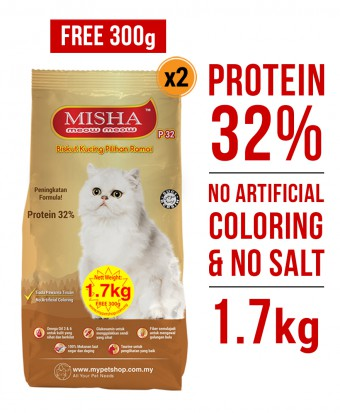PERCUMA 300G : Misha Dry Cat Food 1.7KG x 2 Packs (Mix Flavours)