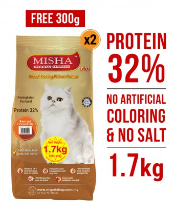 PERCUMA 300G : Misha Dry Cat Food Ocean Fish 1.7KG x 2 Packs