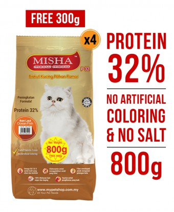 PERCUMA 300G : Misha Dry Cat Food Ocean Fish 800G x 4 Packs