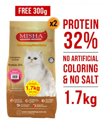 PERCUMA 300G : Misha Dry Cat Food Seafood 1.7KG x 2 Packs