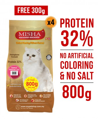 PERCUMA 300G : Misha Dry Cat Food Seafood 800G x 4 Packs