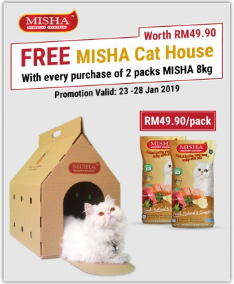 FREE Cat House : Misha Dry Cat Food Chicken & Tuna 8KG x 2 Packs