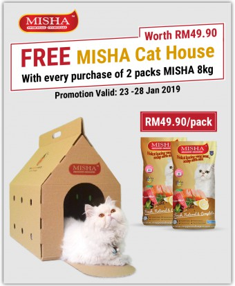FREE Cat House : Misha Dry Cat Food Seafood 8KG x 2 Packs